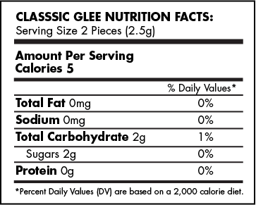 Classic Glee Gum Nutrition Facts