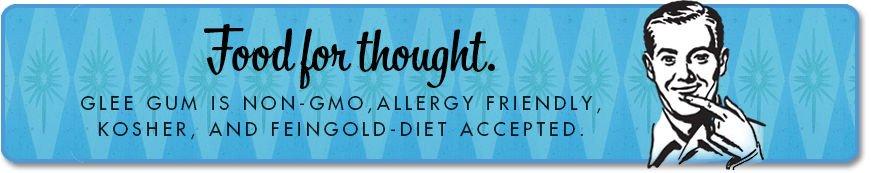 Glee Gum GMO, Allergy, Kosher, Feingold Banner